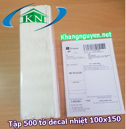 Tập 500 tờ decal nhiệt 100x150 in tem nhãn mã vạch