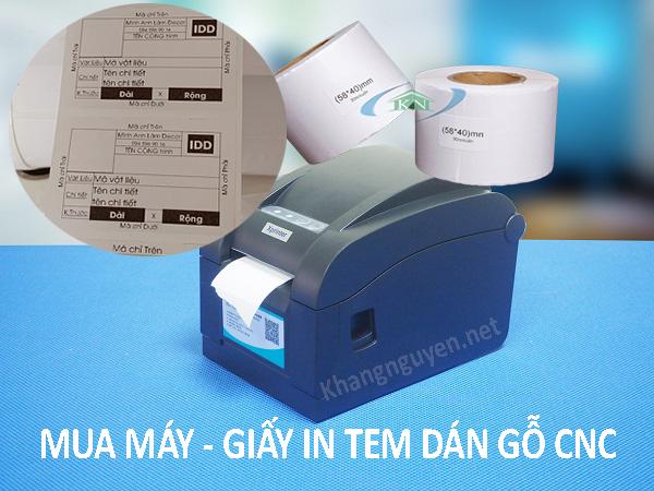 Combo máy và giấy in tem dán gỗ CNC