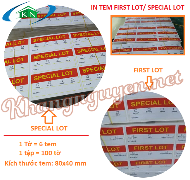 Dịch vụ in tem First Lot, Special Lot ở Hà Nội