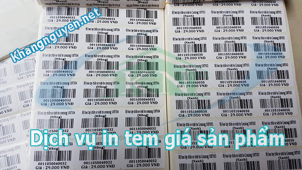 In tem giá sản phẩm