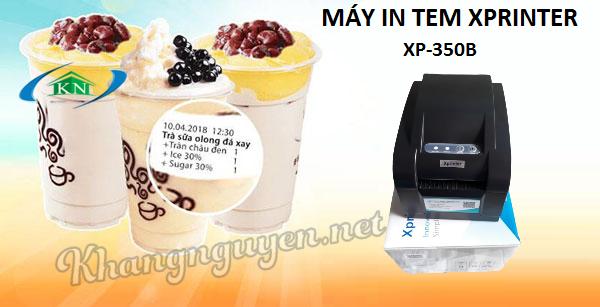 Máy in mã vạch tem nhãn trà sữa Xprinter XP-350B