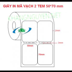 Giấy in mã vạch 2 tem 50x70 mm dài 50m